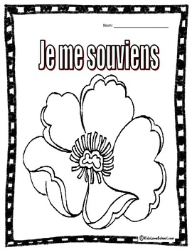 Remembrance Day Colouring Activity in FRENCH -FREE