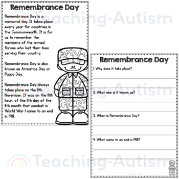 Remembrance Day Reading Comprehension Passages and Questions
