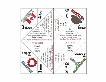 Remembrance Day Cootie Catchers
