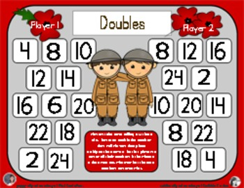Remembrance Day Math - A Doubles Strategy Addition Game - 3 Versions