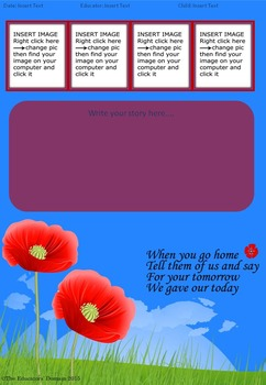Remembrance Day Editable Learning Story Templates