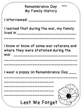 Remembrance Day Family History Interview Grade 1 - 6