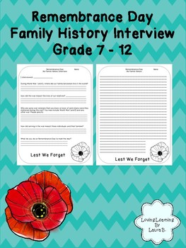 Remembrance Day Family History Interview Grades 7 - 12