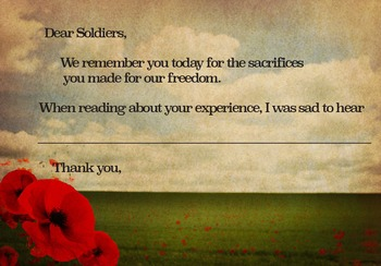 Remembrance Day Fill Out Card