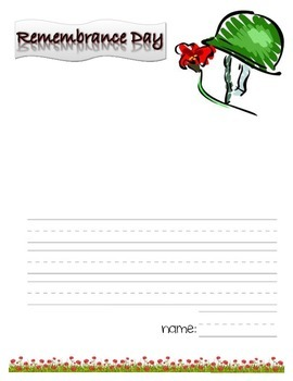 Remembrance Day Illustrated Writing Page