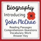 Remembrance Day John McCrae Biography Grades 7-9