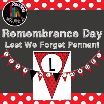 Remembrance Day Lest We Forget Pennant Banner Bunting