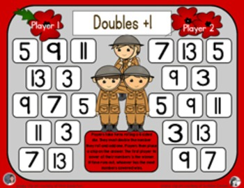 Remembrance Day Math - A Doubles Plus One Strategy Addition Game - 3 Versions