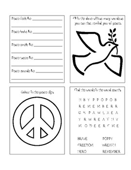 Remembrance Day Mini Peace Book (Canadian version)