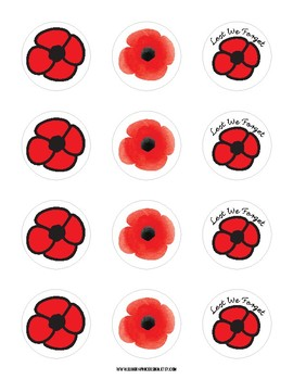 Remembrance Day Poppy Stickers By Elk Graphic Design Tpt