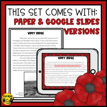 Remembrance Day Reading & Writing Activities