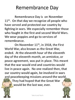 Remembrance Day Reading and Activity Sheets
