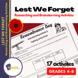Lest We Forget Research & Brainstorming Activities Grades 4-6