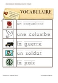 Remembrance Day Sight Words / Word Walls FRENCH