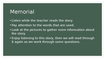 Remembrance Day Unit, book study on Memorial by Gary Crew and Shaun Tan,