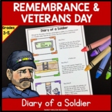Remembrance Day, Veterans Day Reading and Writing Activity for Grades 3-5