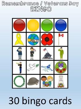 Remembrance Day / Veterans Day Bingo