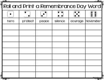 Remembrance Day Game - Roll a Word