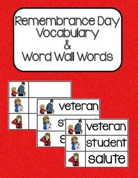 Remembrance Day Vocabulary and Word Wall Words