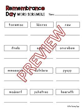 Remembrance Day Word Scramble