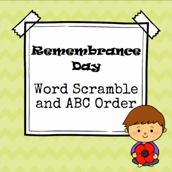 Remembrance Day Word Scramble and ABC Order Cut and Paste