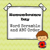 Remembrance Day Word Scramble and ABC Order (Cut and Paste)