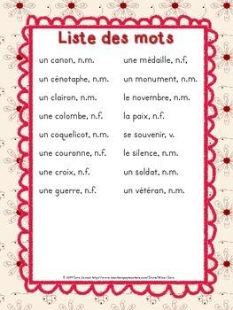 Remembrance Day Word Wall - Murale des mots pour le Jour du souvenir - French