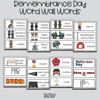 Remembrance Day Word Wall Words and Writing Prompts