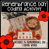 Remembrance Day Words Literacy Coding Activity