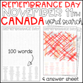 Remembrance Day Canada November 11th - Wordsearch