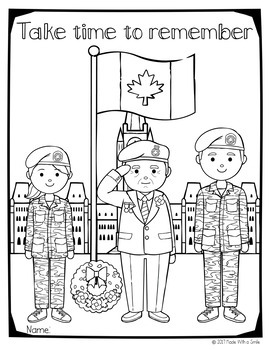 Remembrance Day in Canada Colouring Sheets