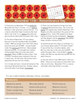 Remembrance Day (ESL 2)