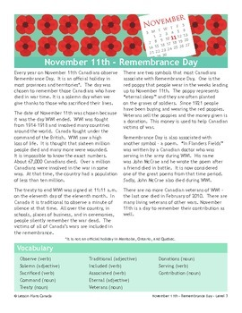 Remembrance Day (ESL 3)