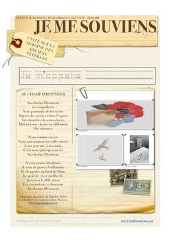 Remembrance / Memorial Day Book FRENCH Cahier Jour du souvenir