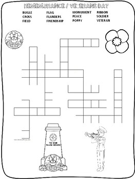 English - Remembrance / Veterans Day word searches