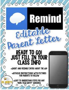 Remind 101 (EDITABLE) Parent Letter