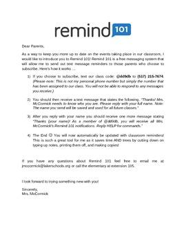 Remind - Parent Letter