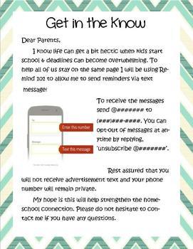 Remind 101 Parent Letter {Editable}