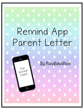 Remind App Parent Letter