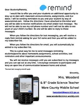 Remind Parent Letter Information