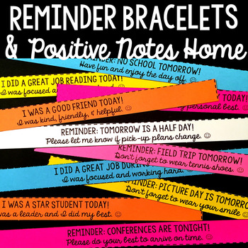 EDITABLE Reminder Bracelets and Positive Notes Home
