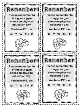 Reminder Cards for Gym Shoes FREE