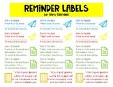 Reminder Labels