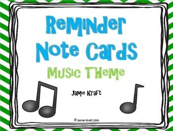 Reminder Note Cards: Music Theme