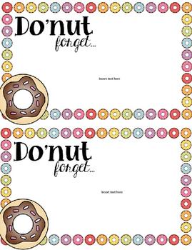 Reminder Notes- Do'nut Forget