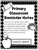 Reminder Notes - Primary Grades