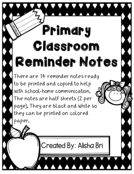 Reminder Notes - Primary Grades