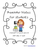 Reminder Notes for Students