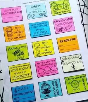 "Reminder Sticky Notes! 1.5""x2"" Rectangle. Post-it Templates. Back to School!"