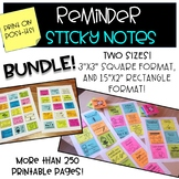 Reminder Sticky Notes BUNDLE!  2 versions Printable Note Template for Parents